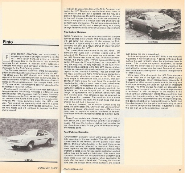 Vintage reviews commentary 1977 ford pinto sabrina duncan your like road test cg also found the pintos minor improvements to be worthwhile the best features of the car were its economy and simplicity with the publicscrutiny Images