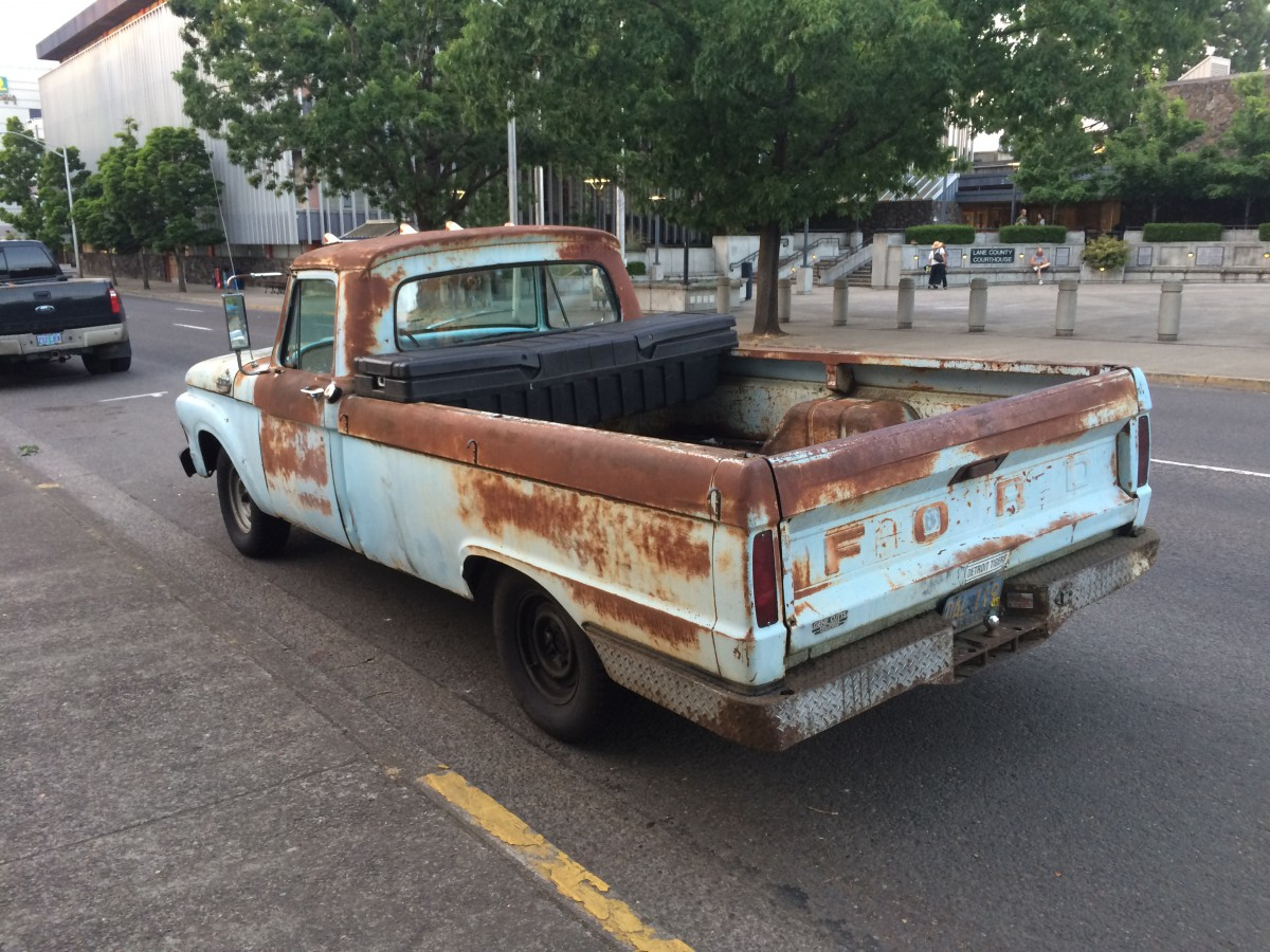 Curbside Classic Capsule 1964 Ford F100 Patina Royale Pickup Truck If My Hadnt Been Repainted At Some Point Before I Bought It In 1987 Might Be Further Along Its Making