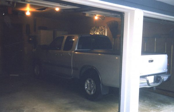 Tundra pickup in garage mostly