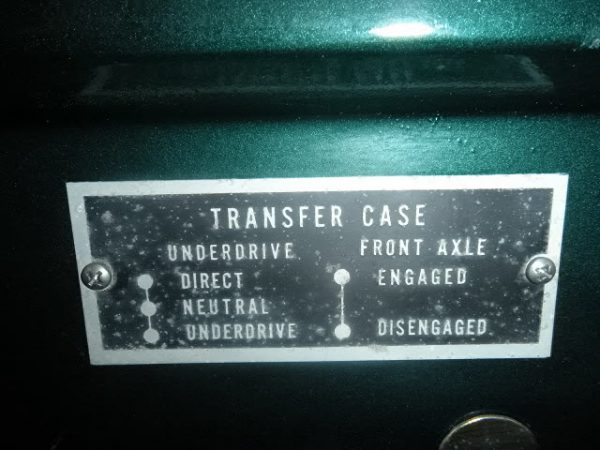 1955 Ford F-350 Dually, Transfer Case Shift Instructions Data Plate. Options include Direct Neutral, and Underdrive, and Front Axle Engaged or Disengaged