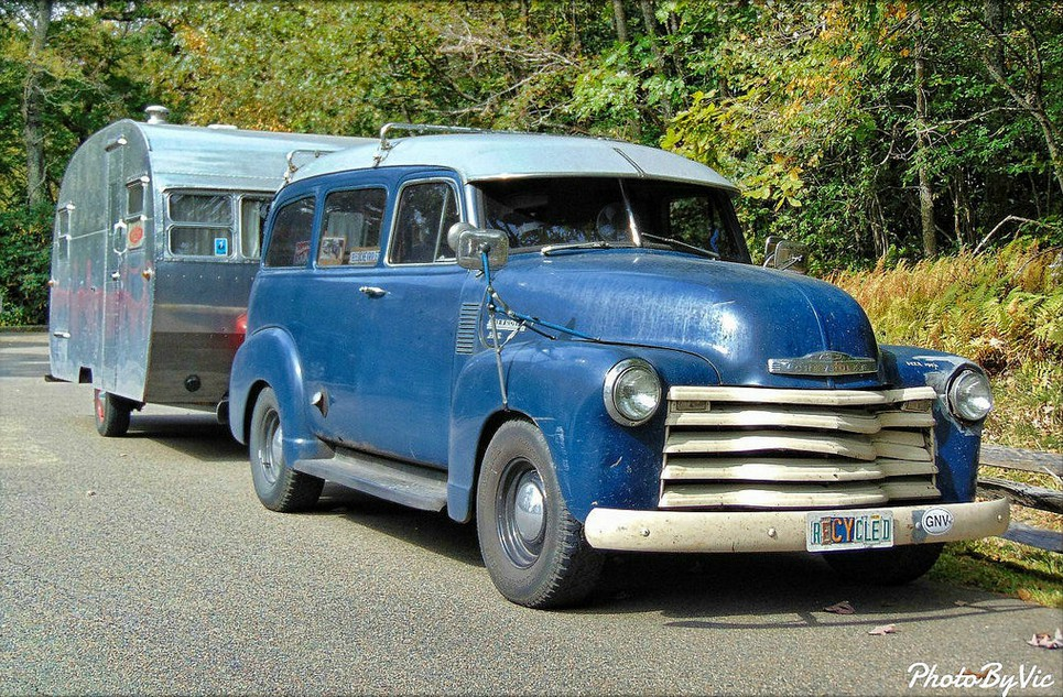 Cohort Outtake: 1953 Chevrolet Suburban With Vintage Trailer Spotted ...