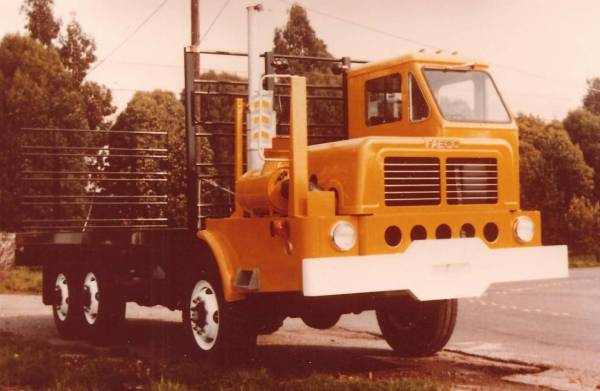 Facbco Lettuce Truck, this one is orange in color and has a larger hood and air cleaner system.
