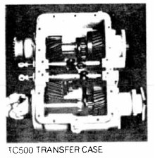 Fabco TC-500 Transfer Case, with the cover removed. Helical gears are used throughout.