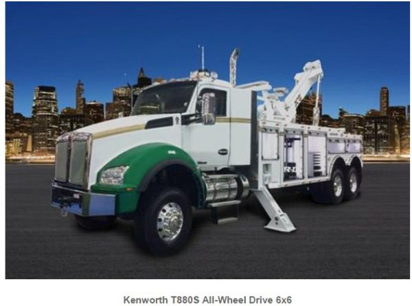 Kenworth T880S with factory-installed Fabco AWD. Utility Body with outriggers