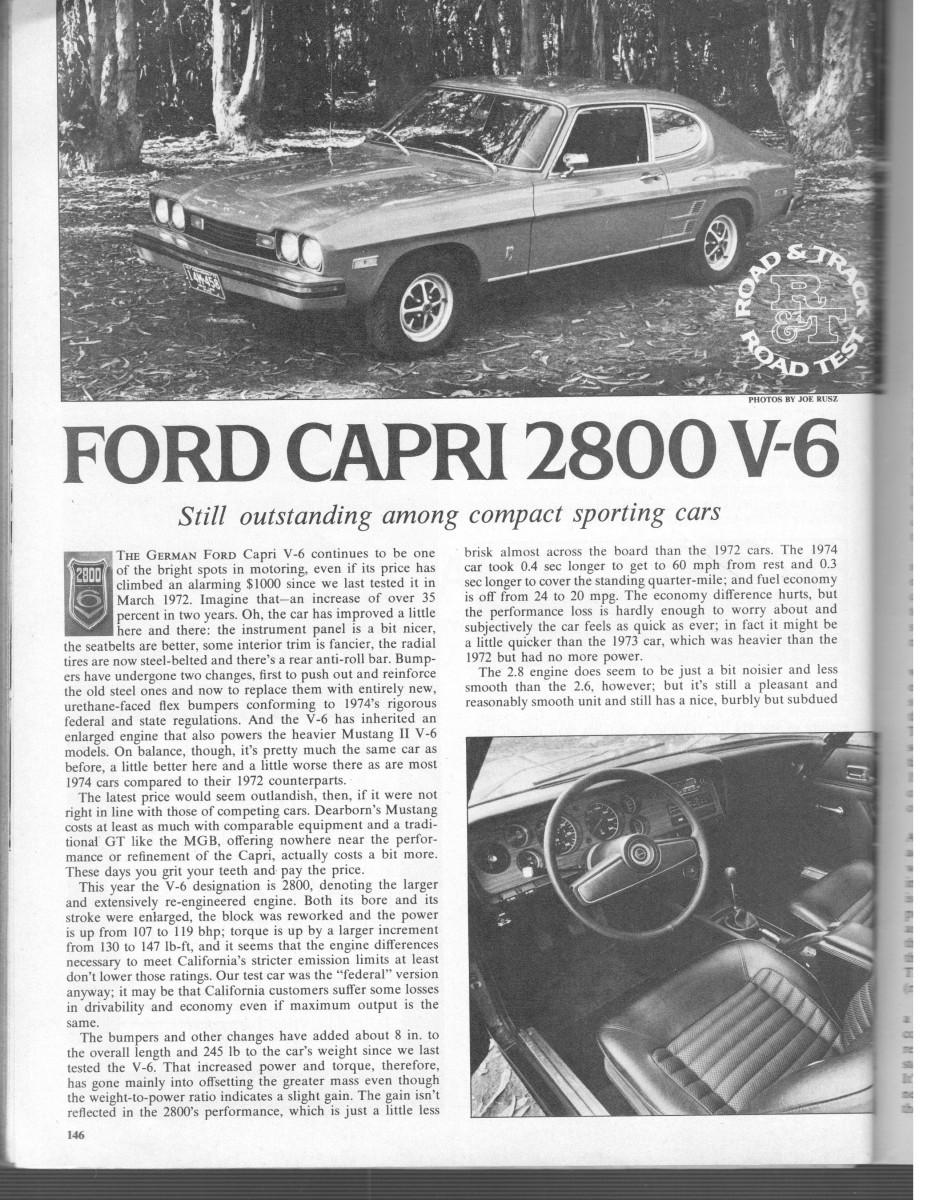 Vintage R T Review 1974 Capri 2800 V6 Still Outstanding Among