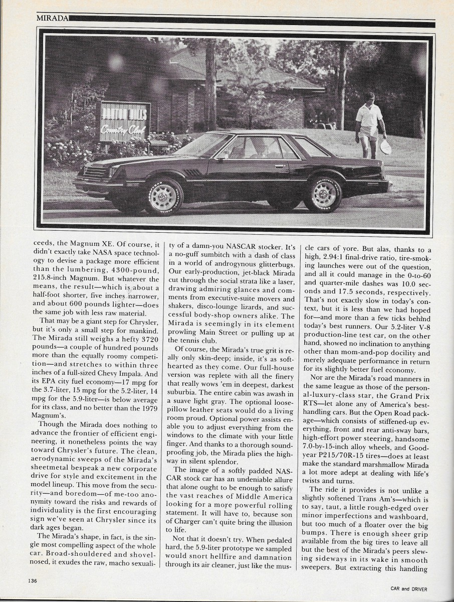 Vintage Review 1980 Dodge Mirada Retro Before Was Cool Interior Part Of The Problem That Smaller Personal Luxury Coupe Still Pretty Big And Heavy Ironically No More Fuel Efficient Than Its Jumbo