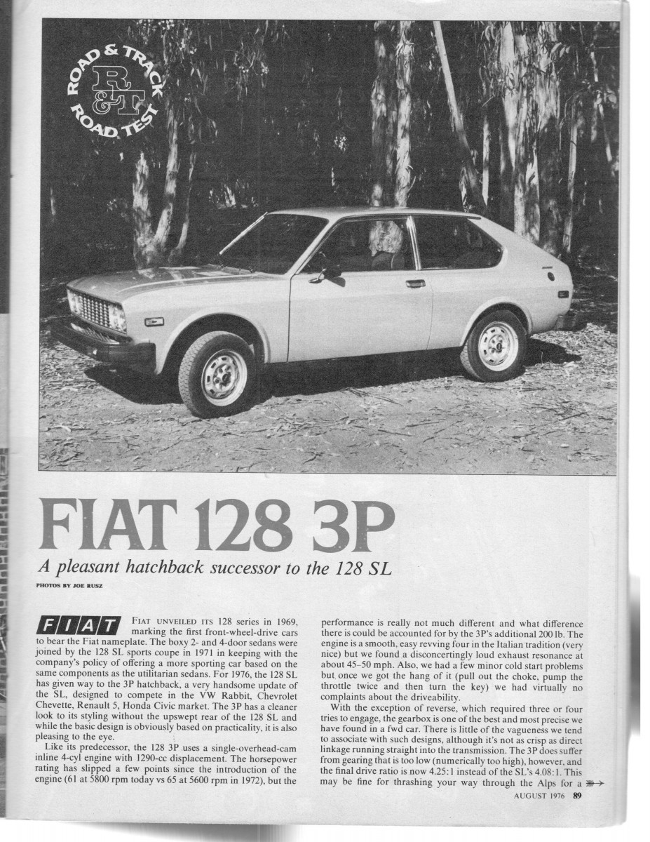 Vintage Road Track Review 1976 Fiat 128 3p Lots Of Good Qualities Not A Lot Of Sales Curbside Classic