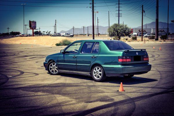 1997 Volkswagen Jetta GLX VR6 Rear 3/4 View Stanced