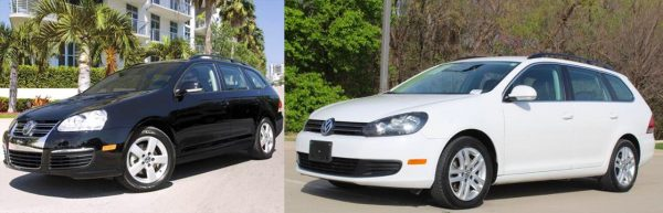 Pre- and post-facelift Jetta SportWagen