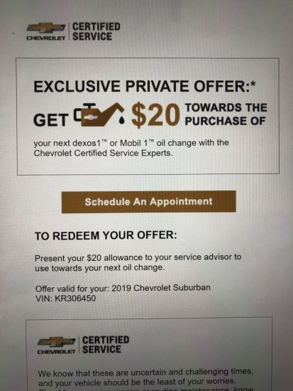 An oil change coupon from a Chevrolet dealer