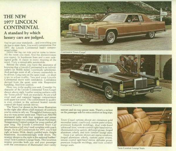 1977 Lincoln Continental Town Car & Coupé, brochure page