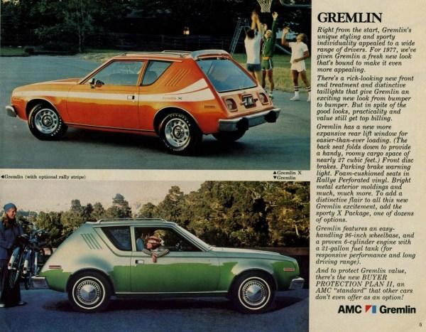 1977 AMC Gremlin brochure page.