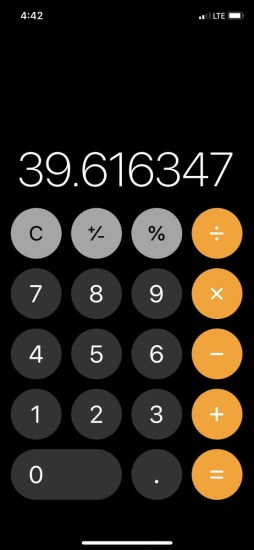 a calculator readout