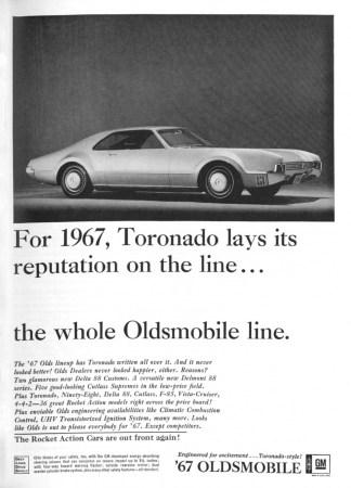 1967 Oldsmobile Toronado ad