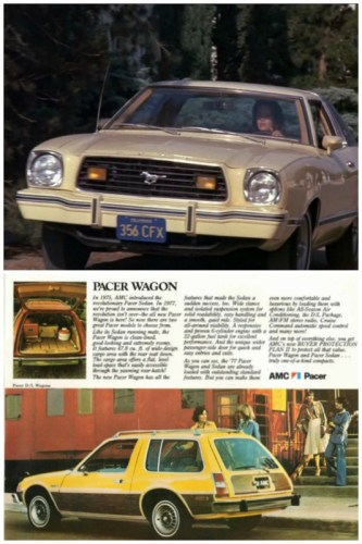 1977 Ford Mustang II Ghia & 1977 AMC Pacer wagon.