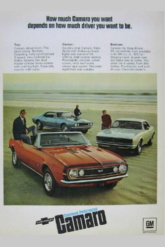 1967 Chevrolet Camaro print ad.