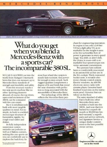 c. 1981 Mercedes-Benz 380SL print ad