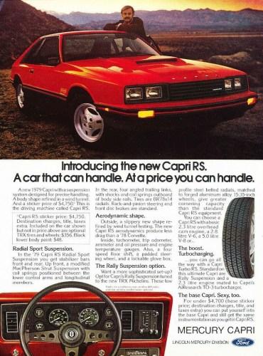 1979 Mercury Capri RS print ad.