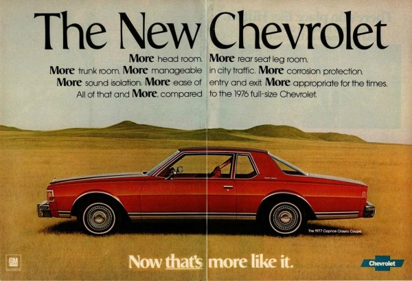 1977 Chevrolet Caprice Classic coupe print ad courtesy of the internet.