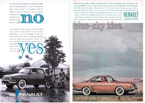 Renault Dauphine and Caravelle ads
