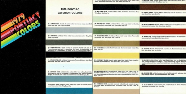 1979 Pontiac Colors, as sourced from the internet.