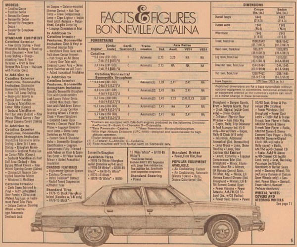 1979 Full-Size Pontiac Facts & Figures, as sourced from www.oldcarbrochures.com.