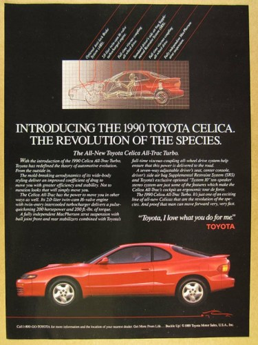 1990 Toyota Celica print ad, as sourced from the internet.