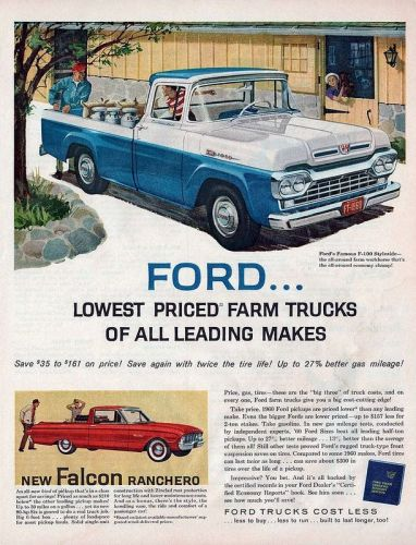 1960 Ford Truck print ad, as sourced from the internet.