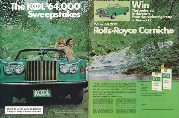1975 Kool cigarettes Rolls-Royce Corniche sweepstakes