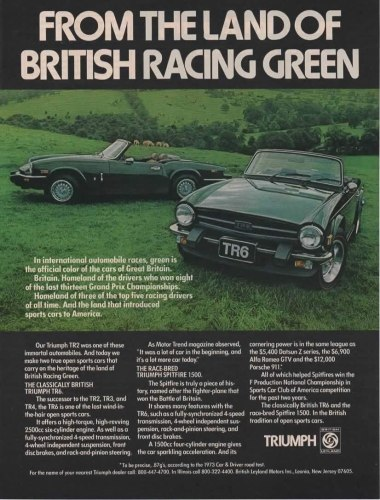 1975 British Leyland print ad for Spitfire and TR6, as sourced from the internet.