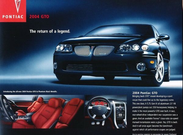 2004 Pontiac GTO brochure page, as sourced from the internet.