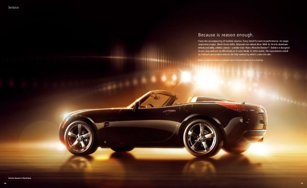 2008 Pontiac Solstice brochure page, as sourced from the internet.