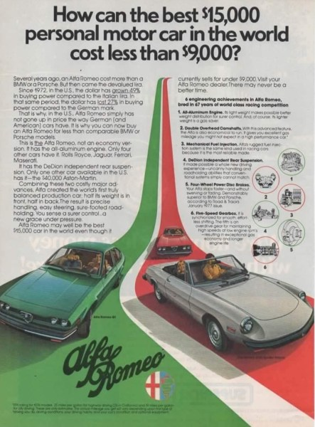 1977 Alfa Romeo print ad, as sourced from the internet.