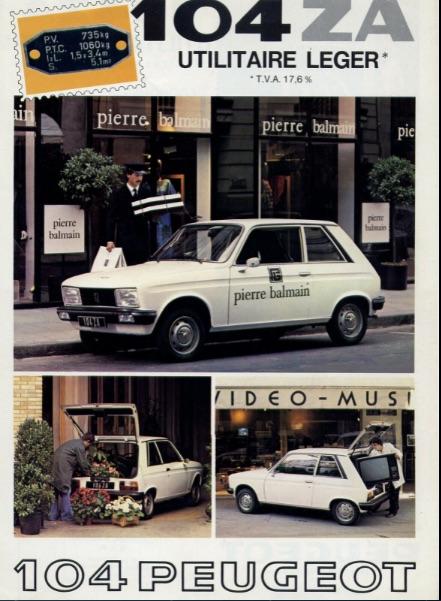 Peugeot 104 ZA catalog
