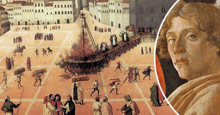 1497, Bûcher des Vanités : Botticelli obligé de jeter ses toiles de nus féminins au feu