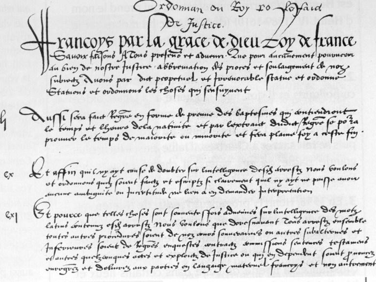 Le plus vieux texte de loi encore en vigueur en France remonte au XVIe siècle