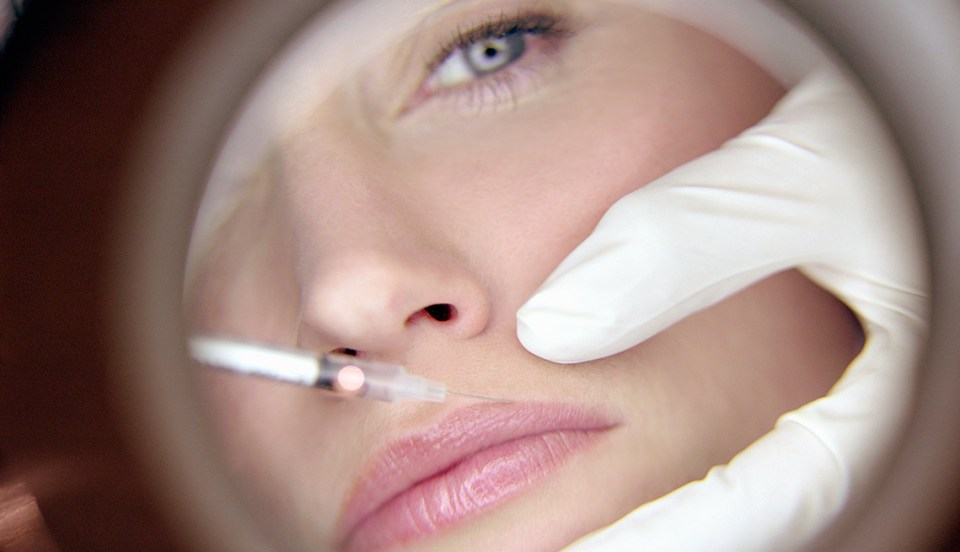 inyección de bótox para eliminar arrugas faciales