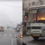 Un chófer circula por Rusia con un autobús en llamas