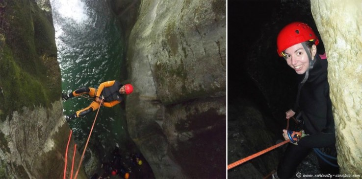 Rappelling down, canyoning