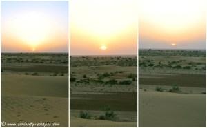 Coucher de soleil sur les dunes de sable, Inde