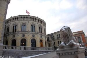 Parlement de Norvège en hiver