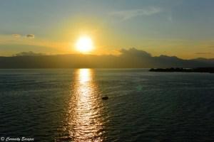 Coucher de soleil sur le lac Ohrid, Macédoine