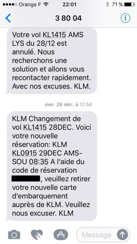 Annulation de vol par KLM