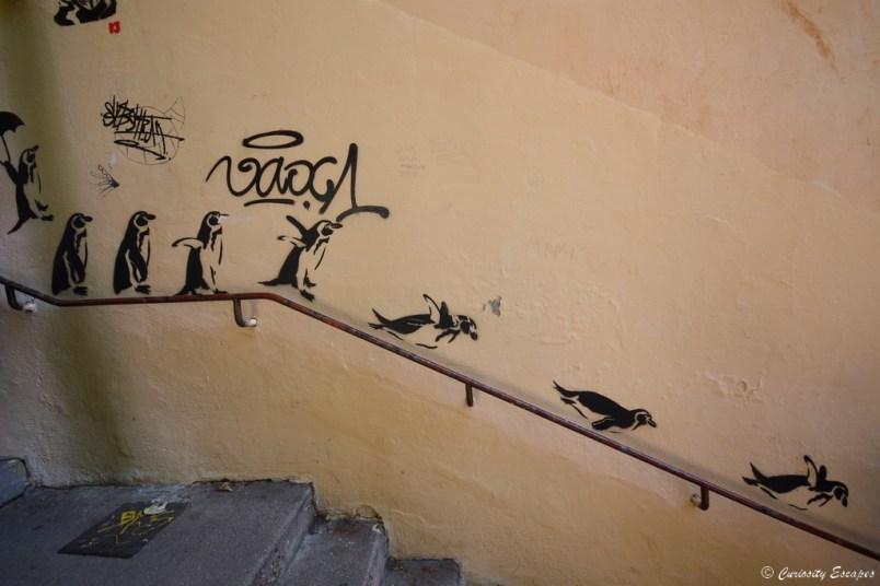 Street art manchots à Lyon