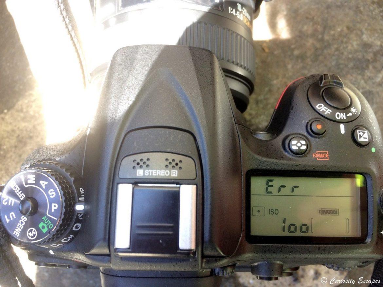 Message d'erreur sur appareil photo Nikon D7200