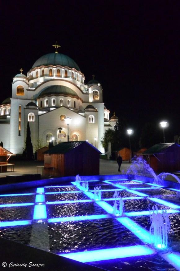 Cathédrale Saint Sava de nuit, Belgrade