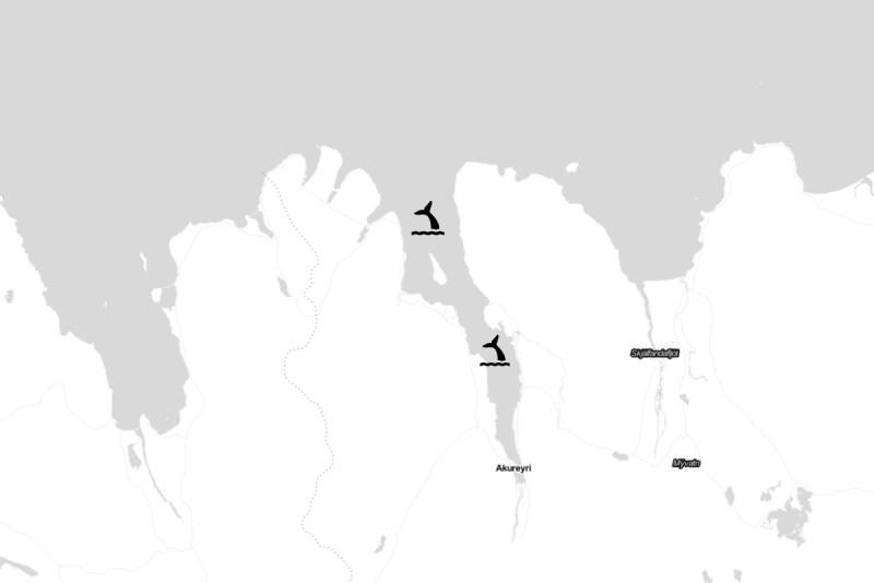 Carte de l'Eyjafjord pour observer les baleines