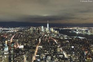 Vue de New-York de nuit depuis l'Empire State Building