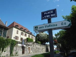 Panneau de via Rhôna à Morestel