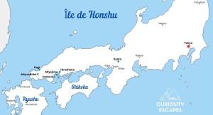 Itinéraire sur l'île de Honshu, Japon